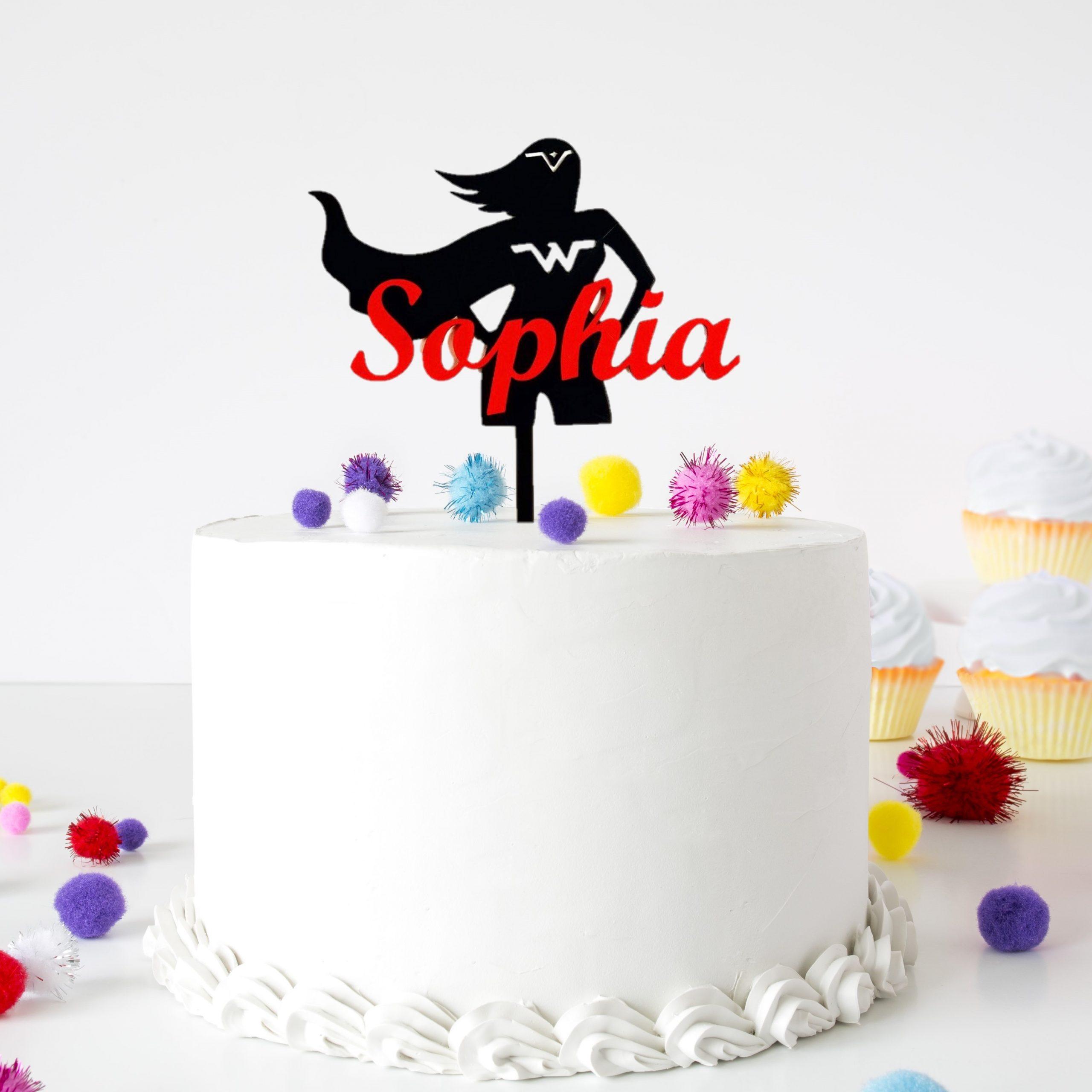 3 Unit WONDER WOMAN Birthday Cake Topper PERSONALIZED