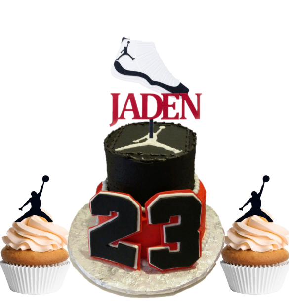 Air Jordan Cake and Cupcake (1 Doz) Topper Combo - 3D Wade ...